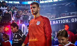 September 11, 2018 - Nashville, TN, U.S. - NASHVILLE, TN - SEPTEMBER 11: Diego Lainez of Mexico and Matt Miazga of the United States are seen during both teams walkout for the national anthem prior to an international friendly match between Mexico and the United States at Nissan Stadium on September 11, 2018 in Nashville, Tennessee. (Photo by Robin Alam/Icon Sportswire) (Credit Image: © Robin Alam/Icon SMI via ZUMA Press)
