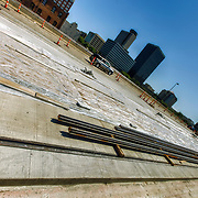 Laying of streetcar track on Main Street between 20th Street and Pershing, downtown Kansas City, Missouri. Saturday September 6, 2014.