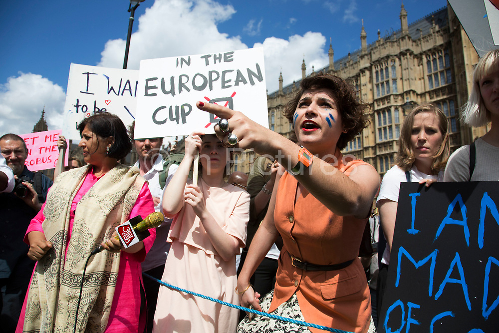 Protesters gather and a heated debate ensues at College Green in Westminster outside the Houses of Parliamant following a Leave vote, also known as Brexit as the EU Referendum in the UK votes to leave the European Union on June 24th 2016 in London, United Kingdom. Membership of the European Union has been a topic of debate in the UK since the country joined the EEC, or Common Market in 1973. It will be the second time the British electorate has been asked to vote on the issue of Britains membership: the first referendum being held in 1975, when continued membership was approved by 67% of voters. The two sides are the  Leave Campaign, commonly referred to as a Brexit, and those of the Remain Campaign who are also known as the In Campaign.
