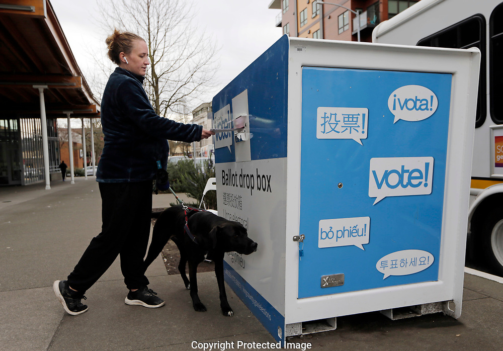Matilda Jagger with her dog Basil drops off ballot in the Washington State primary, Tuesday, March 10, 2020 in Seattle. Washington is a vote by mail state. (AP Photo/John Froschauer)