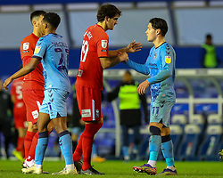 Callum O'Hare of Coventry City and Birmingham City's Mikel San Jose shake hands after the final whistle - Mandatory by-line: Nick Browning/JMP - 20/11/2020 - FOOTBALL - St Andrews - Birmingham, England - Coventry City v Birmingham City - Sky Bet Championship
