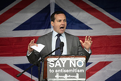 © Licensed to London News Pictures . 16/09/2018. Manchester, UK. CHRIS GREEN MP . Thousands of people including the UK's Chief Rabbi and several Members of Parliament attend a demonstration against rising anti-Semitism in British politics and society , at Cathedral Gardens in Manchester City Centre . Photo credit : Joel Goodman/LNP