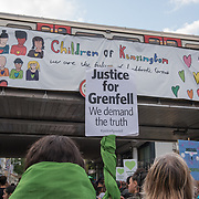 Jeremy Corbyn joins thirty thousand marchers at the Grenfell Silent Walk - 1 Year On to mark the anniversary of the Grenfell Tower fire, demand Justice for Grenfell on June 14, 2018, London, UK.