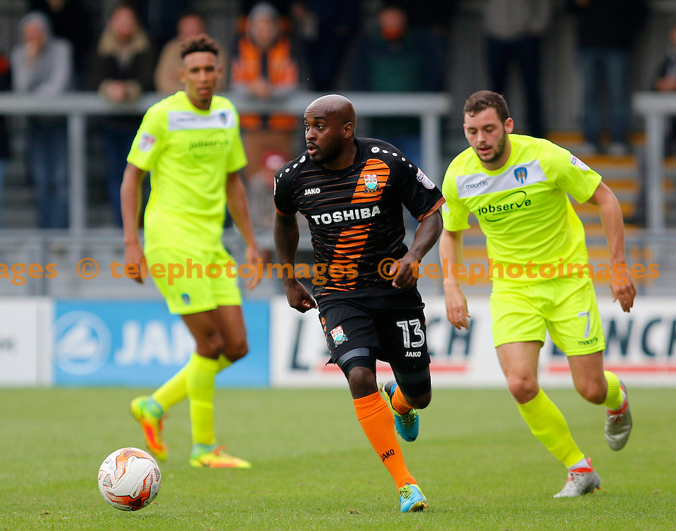Barnet's Jamal Campbell-Ryce in action during the Sky Bet League 2 match between Barnet and Colchester United at Underhill Stadium in London. September 17, 2016.<br /> Carlton Myrie / Telephoto Images<br /> +44 7967 642437