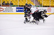 October 13, 2007 - Anchorage, Alaska: Sean Berkstresser (22) of the Robert Morris Colonials loses the puck as he takes a shot in the 4-1 victory over the Wayne State Warriors at the Nye Frontier Classic at the Sullivan Arena.