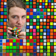 World champion at Rubik Cube Breandan Vallance at home in Beith. He won the world championship in Dusseldorf in Germany in 2009.     Picture  Robert Perry  The Scotsman 22nd July  2010