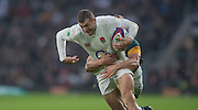 Twickenham, United Kingdom.  Jonny MAY with Pat LAMBIE hanging on during the Old Mutual Wealth Series match: England vs South Africa, at the RFU Stadium, Twickenham, England, Saturday, 12.11.2016<br /> <br /> [Mandatory Credit; Peter Spurrier/Intersport-images]
