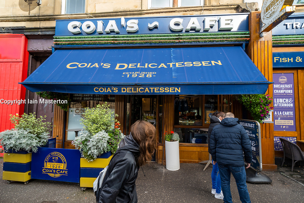 Glasgow, Scotland, UK. 7 October 2020. Time Out magazine has named Dennistoun in the East End of Glasgow as one of the world's coolest districts. Pictured;  Typical independent cafe, Coia's  Delicatessen on Duke Street in Dennistoun Iain Masterton/Alamy Live News