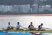 "Rio de Janeiro. BRAZIL.   GBR M4X, leave the boating pontoons for a training session. 2016 Olympic Rowing Regatta. Lagoa Stadium,<br /> Copacabana,  ""Olympic Summer Games""<br /> Rodrigo de Freitas Lagoon, Lagoa.   Tuesday  09/08/2016 <br /> <br /> [Mandatory Credit; Peter SPURRIER/Intersport Images]"