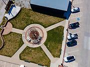 Aerial photograph of a small community park, ain Street, Malvern, Iowa, USA.