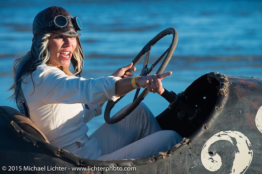 Jessi Combs in Bobby Green's Overland Whippet at The Race of Gentlemen. Wildwood, NJ, USA. October 11, 2015.  Photography ©2015 Michael Lichter.
