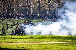 © Licensed to London News Pictures. 06/02/2020. London, UK. The king's Troop Royal Horse Artillery fire a 41-gun salute in Green Park to mark the 68th anniversary of the Queen's Accession to the Throne. Photo credit: Alex Lentati/LNP