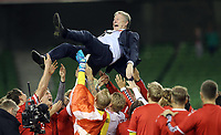 Republic of Ireland v Denmark 2018 FIFA World Cup WM Weltmeisterschaft Fussball Qualifying Denmark Manager Åge Hareide celebrates after the 2018 FIFA World Cup Qualifying   PUBLICATIONxNOTxINxUK