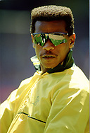 CLEVELAND - 1990:  Rickey Henderson of the Oakland Athletics looks on prior to an MLB game against the Cleveland Indians at Municipal Stadium in Cleveland, Ohio during the 1990 season. (Photo by Ron Vesely)  Subject:   Rickey Henderson