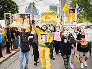 05 AUGUST 2013 - BANGKOK, THAILAND: Anti-government protesters who support the Thai monarchy march through central Bangkok. About 500 people, members of the  People's Army against Thaksin Regime, a new anti-government group, protested in Lumpini Park in central Bangkok. The protest was peaceful but more militant protests are expected later in the week when the Parliament is expected to debate an amnesty bill which could allow Thaksin Shinawatra, the exiled former Prime Minister, to return to Thailand.    PHOTO BY JACK KURTZ