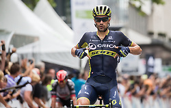 Winner Luka Mezgec (SLO) of Orica - Scott celebrates at finish line during Stage 2 of 24th Tour of Slovenia 2017 / Tour de Slovenie from Ljubljana to Ljubljana (169,9 km) cycling race on June 16, 2017 in Slovenia. Photo by Vid Ponikvar / Sportida