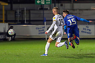 AFC Wimbledon defender Steve Seddon (15) with a header on goal during the EFL Sky Bet League 1 match between AFC Wimbledon and Peterborough United at the Cherry Red Records Stadium, Kingston, England on 12 March 2019.
