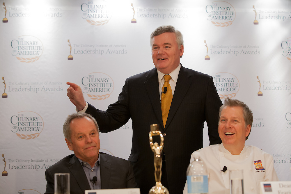 Wolfgang Puck (L)< CIA President Tim Ryan, and Dean Fearing talk about the early days of the renaissance in American cuisine.