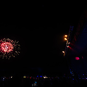 Mix Master Mike looks on as Fireworks celebrate the ending of the #marchradness spring celebration at Jackson Hole Mountain Resort in Wilson, Wyoming.