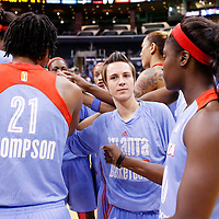 08 August 2014: Atlanta Dream guard Celine Dumerc (9) is seen gathering with her teammates after the Los Angeles Sparks 80-77 overtime win over the Atlanta Dream, at the Staples Center, Los Angeles, California, USA.