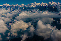 Aerial view of the high peaks of the Himalayan Range, near Mt. Everest, Nepal.
