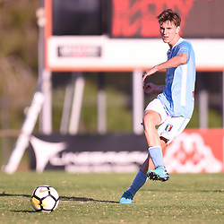 BRISBANE, AUSTRALIA - JANUARY 27: Lachlan Sayers of City passes the ball during the Kappa Silver Boot Third Place match between Moreton Bay United and Brisbane City on January 27, 2018 in Brisbane, Australia. (Photo by Patrick Kearney)