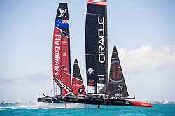 June 25, 2017 - France - The Great Sound, Bermuda, 25th June 2017. Emirates Team New Zealand and Oracle Team USA start race seven. Day four of racing in the America's Cup presented by Louis Vuitton. (Credit Image: © Panoramic via ZUMA Press)