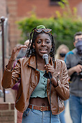 """Abba an activist from """"Justice for Black Lives"""" speaks to protestors in front of the US Embassy in East London on Saturday, July 11, 2020 - during a protest organised by the Black Lives Matter movement against systematic racial injustice. Anger against systemic levels of institutional racism have raged through the city, and worldwide; sparked by the death of George Floyd who died on May 25 after he was restrained by Minneapolis police in the United States. (VXP Photo/ Vudi Xhymshiti)"""