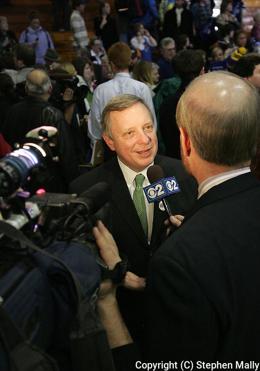 10 February 2007: US Senator Richard Durbin (D-IL) is interviewed after a town hall meeting for Democratic presidential hopeful Senator Barack Obama (D-IL) at Kennedy High School in Cedar Rapids, Iowa on February 10, 2007.