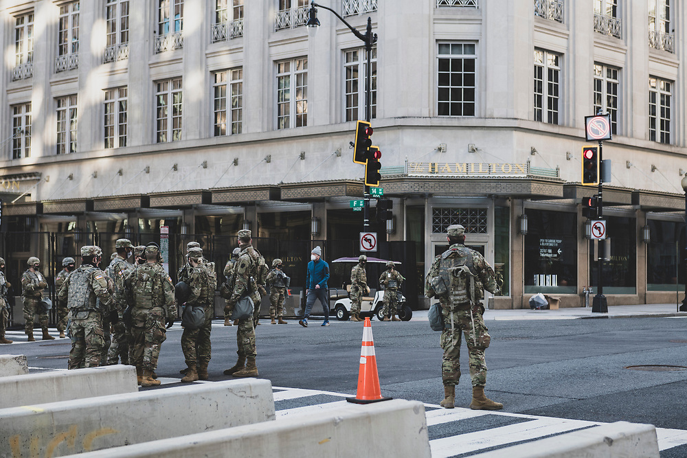 Washington DC, USA - January 19, 2021: National Guard soldiers at 14th and F Streets near the White House.