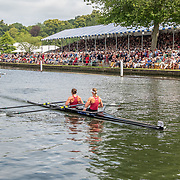 Olivia Loe & Brooke Donoghue , New Zealand elite  Womens Double Scull <br /> <br /> Finals racing day at the Henley Royal Regatta on The Thames river, Henley on Thames, England. Sunday 7 July 2019. © Copyright photo Steve McArthur / www.photosport.nz
