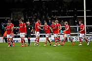 Barnsley fans celebrate with Barnsley midfielder George Moncur (10) after his goal during  the EFL Sky Bet League 1 match between Peterborough United and Barnsley at The Abax Stadium, Peterborough, England on 6 October 2018.