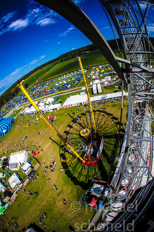 """The view from the Giant Wheel. Saturday at Rockness 2013, the annual music festival which took place in Scotland at Clune Farm, Dores, on the banks of Loch Ness, near Inverness in the Scottish Highlands. The festival is known as """"the most beautiful festival in the world"""" ."""