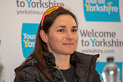 Dame Sarah Storey during the Eve of tour press conference ahead of the first stage of the Tour de Yorkshire in the Leeds Civic Hall, Leeds, United Kingdom on 1 May 2019.