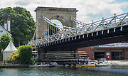"""Marlow, Bucks , United Kingdom, <br /> <br /> General View, GV, """"Marlow Bridge"""", """"Marlow Rowing Club"""", """"The Complete Angler Hotel"""", River Thames, Thames valley, """"Coaching Launches"""", """"Parked/Moored"""", under the Bridge, boat's racked, and """"storage"""" under the Road Bridge,<br /> <br /> Thursday,  15/06/2017, © Peter SPURRIER, Marlow Bridge,"""