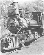 """RGS 2-8-0 #13 head-on shot at Telluride.<br /> RGS  Telluride, CO  Taken by Virden, Walter<br /> In book """"Southern, The: A Narrow Gauge Odyssey"""" page 93"""