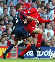 Photo: Daniel Hambury<br /> Barclaycard Premiership. Liverpool V Middlesborough   2/5/2004.  <br /> <br /> Liverpool's Dietmar Hamann and Middlesborough's Szilard Nemeth
