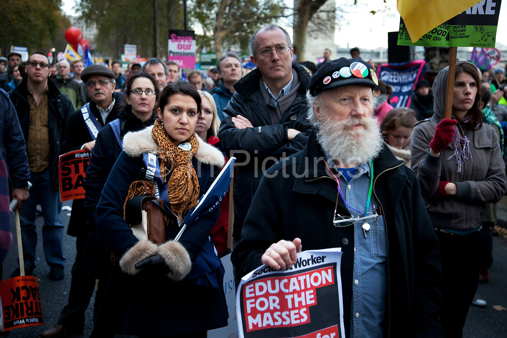 Union members at the N30 demonstration march protest in London as the public sector strike over pensions, this disrupted schools, hospitals and other services. Here they listen to speakers on Victoria Embankment