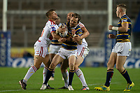 Rugby League - 2020 / 2021 Coral Challenge Cup - Quarter-final - Leeds Rhinos vs Hull Kingston Rovers<br /> <br /> Leeds Rhinos's Richie Myler is tackled, at the TW Stadium.