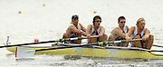 Poznan, POLAND.  2006, FISA, Rowing, World Cup, GBR M4- bow Alex PARTRIDGE, Steve WILLIAMS, Peter REED, Andy TWIGGS HODGE, move  away from  the  start, on the Malta  Lake. Regatta Course, Poznan, Thurs. 15.06.2006. © Peter Spurrier   .[Mandatory Credit Peter Spurrier/ Intersport Images] Rowing Course:Malta Rowing Course, Poznan, POLAND