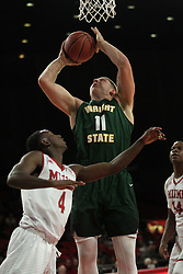 November 14, 2017 - Oxford, Ohio, U.S - Wright State Raiders center Loudon Love (11) puts up a shot over Miami (Oh) Redhawks guard Isaiah Coleman-Lands (4). On Tue Nov 14, 2017 in Oxford,Ohio. (Credit Image: © Ernest Coleman via ZUMA Wire)