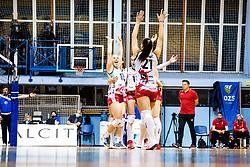 Players of Nova KBM Maribor celebrate during 3rd Leg Volleyball match between Calcit Volley and Nova KBM Maribor in Final of 1. DOL League 2020/21, on April 17, 2021 in Sportna dvorana, Kamnik, Slovenia. Photo by Matic Klansek Velej / Sportida