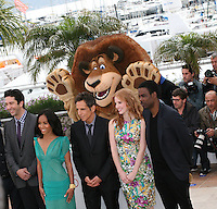 David Schwimmer, Jada Pinkett Smith, Ben Stiller, Jessica Chastain and Chris Rock at the Madagascar 3: Europe's Most Wanted photocall at the 65th Cannes Film Festival. Friday 18th May 2012 in Cannes Film Festival, France.