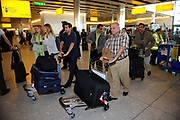 Finally some arrivals following delays at Heathrow Airport in West London after many planes were grounded for a long period of time due to the volcanic ash cloud which spread from Iceland. Scenes of chaos, frustration and disruption followed. London, UK.