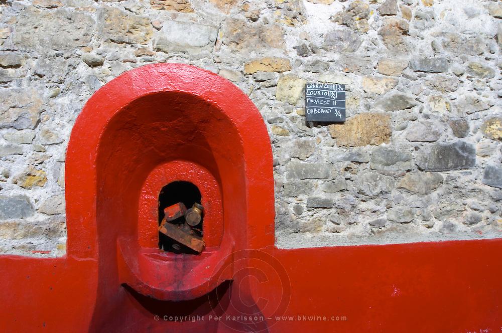 Chateau Pech-Latt. Near Ribaute. Les Corbieres. Languedoc. Concrete fermentation and storage vats. France. Europe.