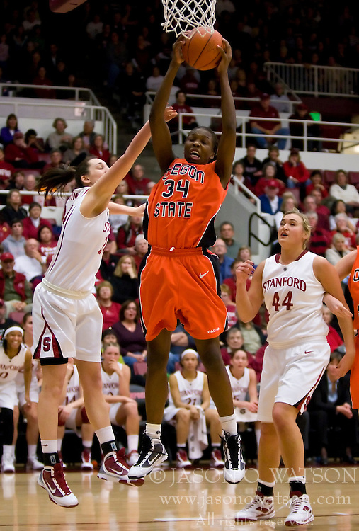 February 20, 2010; Stanford, CA, USA;  Oregon St. Beavers forward El Sara Greer (34) grabs a rebound against the Stanford Cardinal during the second half at Maples Pavilion.  Stanford defeated Oregon State 82-48.
