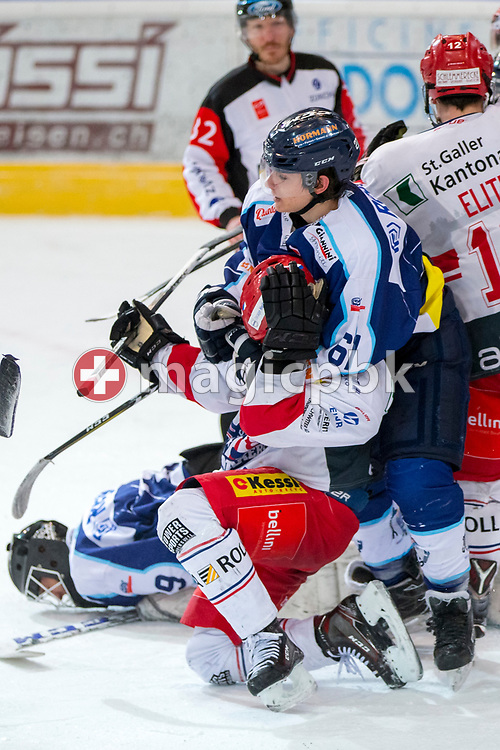 Rapperswil-Jona Lakers forward Andreas Tschudi is being hold by HC Ambri-Piotta forward Anthony Neuenschwander during the fifth and final Elite A /B league qualification ice hockey game between HC Ambri-Piotta and Rapperswil-Jona Lakers in Ambri, Switzerland, Saturday, March 31, 2018. (Photo by Patrick B. Kraemer / MAGICPBK)