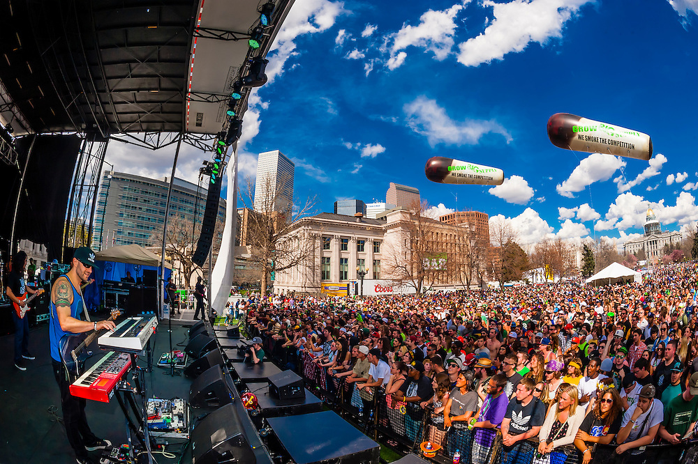 The Expendables perform at the 420 Cannabis Culture Music Festival, Civic Center Park, Downtown Denver, Colorado USA. This was the first 4/20 celebration since recreational pot became legal in Colorado January 1, 2014. A crowd of up to 80,000 people attended the event.