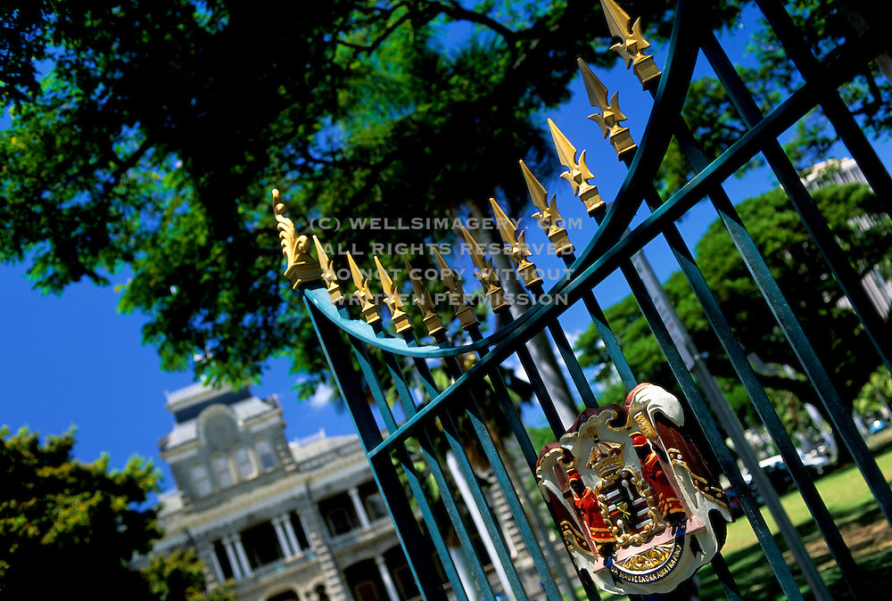 Image of the gates of the Iolani Palace and the Royal Crest of Arms, Honolulu, Oahu, Hawaii, America West by Andrea Wells