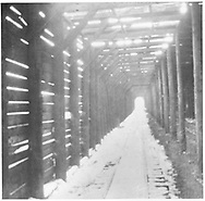 """Interior of RGS Lizard Head wye snowshed showing the """"ventilated"""" roof.<br /> RGS  Lizard Head, CO  Taken by Wolfinger, Clemente D. - ca. ? 1907-1910<br /> In book """"RGS Story, The Vol. X: Over the Bridges? Ridgway to Durango"""" page 312"""